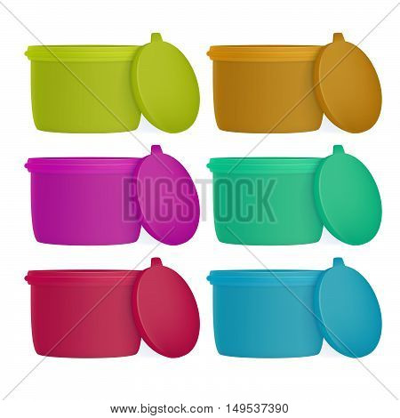 Set of plastic containers for foods, isolated on white background. Lunch box.