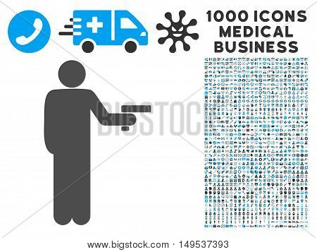 Robber With Gun icon with 1000 medical business gray and blue glyph pictograms. Clipart style is flat bicolor symbols, white background.