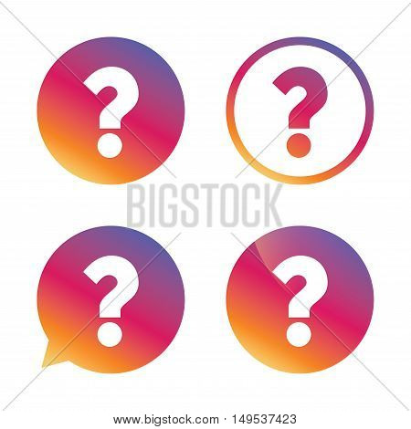 Question mark sign icon. Help symbol. FAQ sign. Gradient buttons with flat icon. Speech bubble sign. Vector