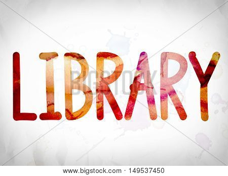 Library Concept Watercolor Word Art