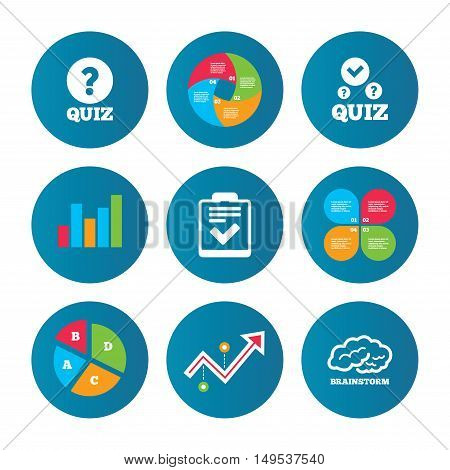 Business pie chart. Growth curve. Presentation buttons. Quiz icons. Human brain think. Checklist with check mark symbol. Survey poll or questionnaire feedback form sign. Data analysis. Vector