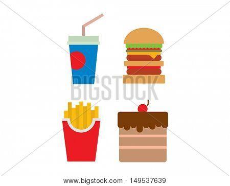 Hamburger fast food vector.
