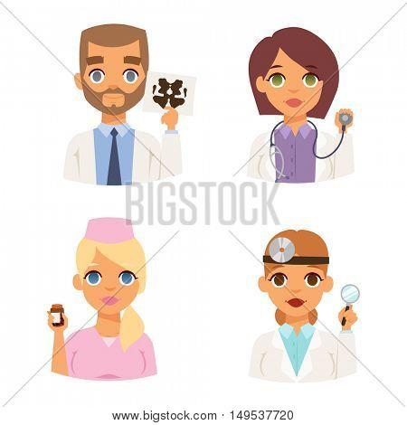 Doctors spetialists faces vector set.