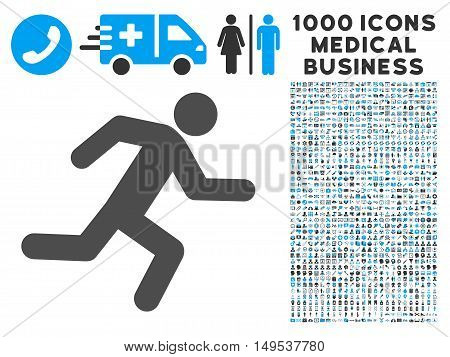 Running Man icon with 1000 medical commercial gray and blue glyph pictograms. Collection style is flat bicolor symbols, white background.