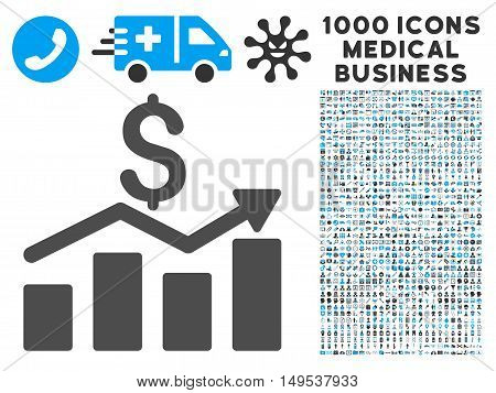 Sales Chart icon with 1000 medical commerce gray and blue glyph pictographs. Collection style is flat bicolor symbols, white background.