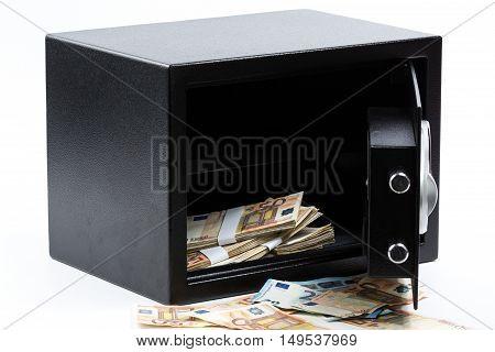 Open Safe Deposit Box, Pile Of Cash Money, Euros