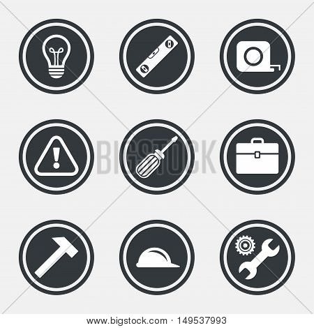 Repair, construction icons. Engineering, helmet and screwdriver signs. Lamp, electricity and attention symbols. Circle flat buttons with icons and border. Vector