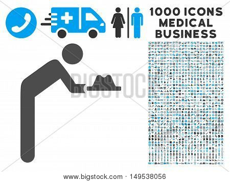 Servant With Hat icon with 1000 medical commercial gray and blue glyph design elements. Clipart style is flat bicolor symbols, white background.