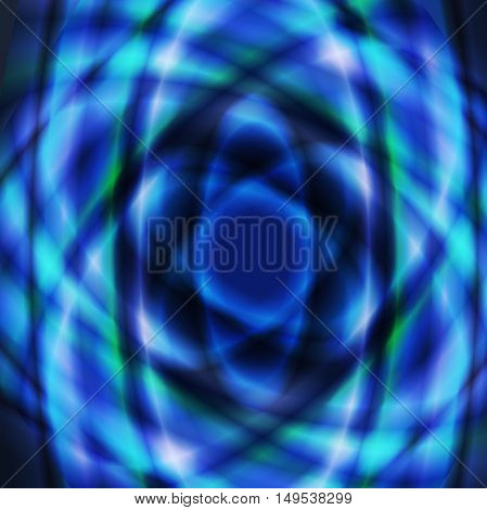 Blue colorful geometric oval design made using radial gradient and overlay opacity mode.