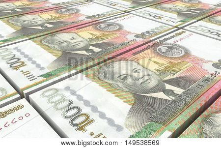 Laotian kip bills stacks background. 3D illustration.