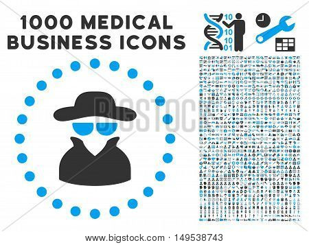 Spy icon with 1000 medical commercial gray and blue glyph pictographs. Clipart style is flat bicolor symbols, white background.