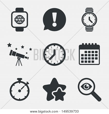 Smart watch with internet icons. Mechanical clock time, Stopwatch timer symbols. Wrist digital watch sign. Attention, investigate and stars icons. Telescope and calendar signs. Vector