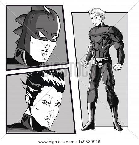 Superhero man cartoon with uniform icon. Costume and hero theme. Black and white design. Comic background. Vector illustration