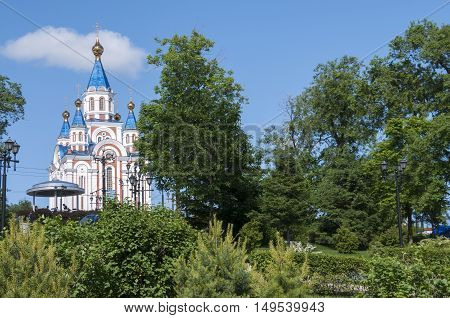 The church with blue domes of the trees