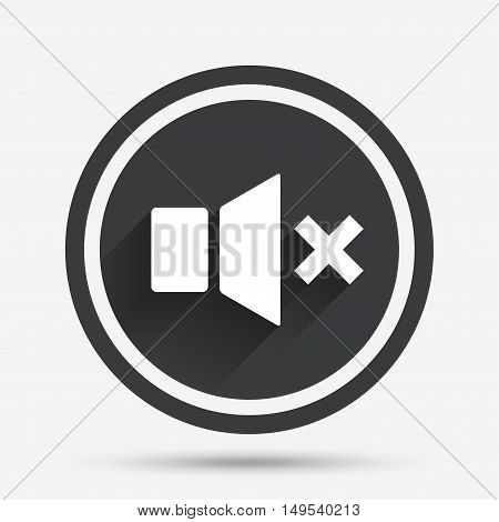 Mute speaker sign icon. Sound symbol. Circle flat button with shadow and border. Vector