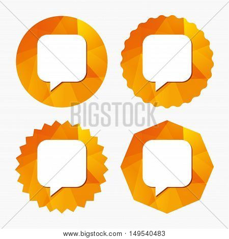 Chat sign icon. Speech bubble symbol. Communication chat bubbles. Triangular low poly buttons with flat icon. Vector