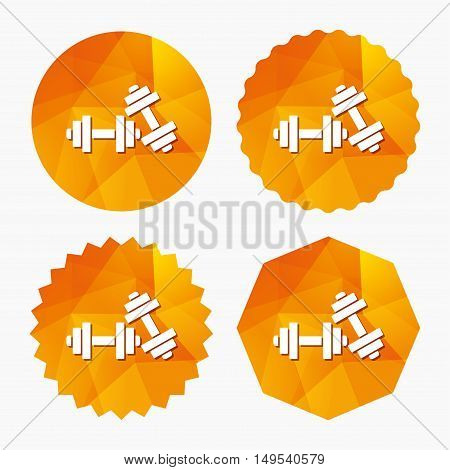Dumbbells sign icon. Fitness sport symbol. Gym workout equipment. Triangular low poly buttons with flat icon. Vector