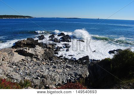 Rocky coastline of Cape Elizabeth in Portland, Maine, USA.