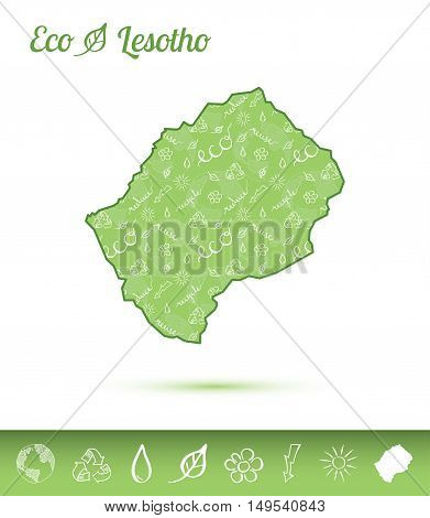 Lesotho Eco Map Filled With Green Pattern. Green Counrty Map With Ecology Concept Design Elements. V