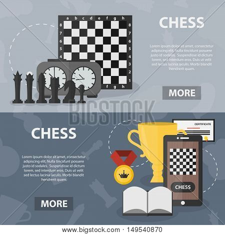 Vector flat horizontal banners of chess for website and apps. Posters concept of strategy and tactics. Set of game equipment and figures.