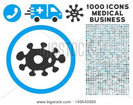 Virus icon with 1000 medical commerce gray and blue glyph design elements. Collection style is flat bicolor symbols, white background.