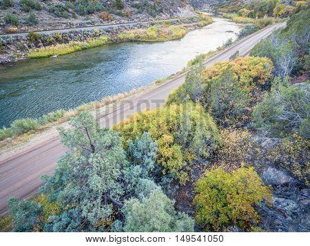 aerial view of upper Colorado River at Burns, Colorado in fall colors