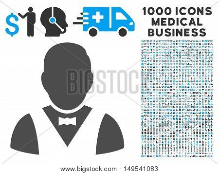 Waiter icon with 1000 medical commerce gray and blue glyph design elements. Clipart style is flat bicolor symbols, white background.