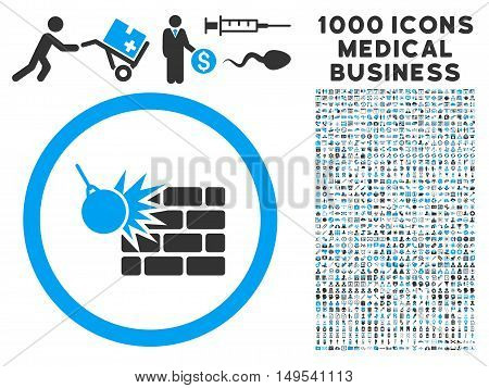 Wall Destruction icon with 1000 medical commercial gray and blue glyph pictographs. Set style is flat bicolor symbols, white background.