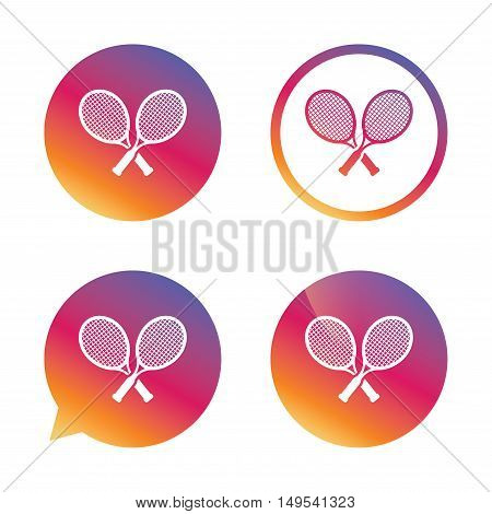 Tennis rackets sign icon. Sport symbol. Gradient buttons with flat icon. Speech bubble sign. Vector