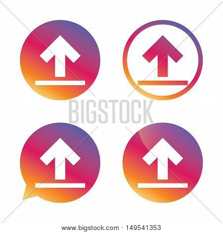 This side up sign icon. Fragile package symbol. Gradient buttons with flat icon. Speech bubble sign. Vector