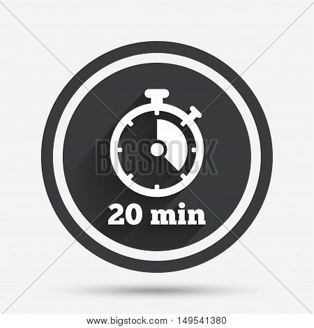 Timer sign icon. 20 minutes stopwatch symbol. Circle flat button with shadow and border. Vector