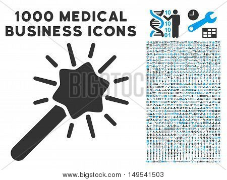 Wizard Tool icon with 1000 medical business gray and blue glyph pictographs. Design style is flat bicolor symbols, white background.