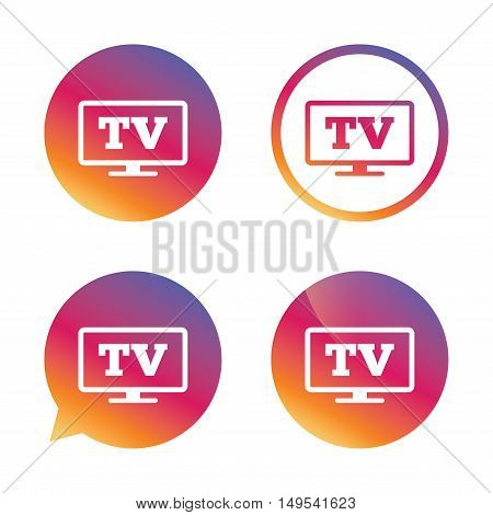 Widescreen TV sign icon. Television set symbol. Gradient buttons with flat icon. Speech bubble sign. Vector