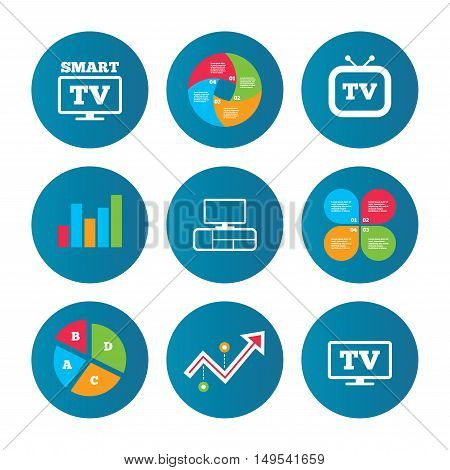 Business pie chart. Growth curve. Presentation buttons. Smart TV mode icon. Widescreen symbol. Retro television and TV table signs. Data analysis. Vector
