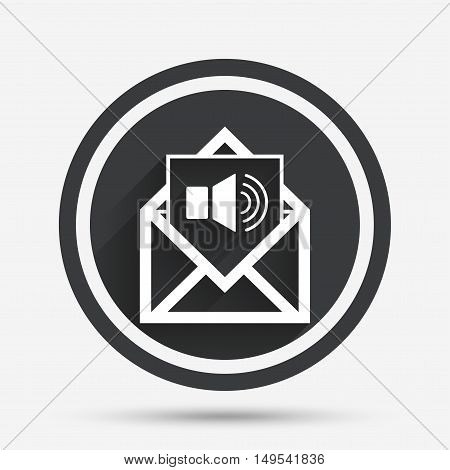 Voice mail icon. Speaker symbol. Audio message. Circle flat button with shadow and border. Vector