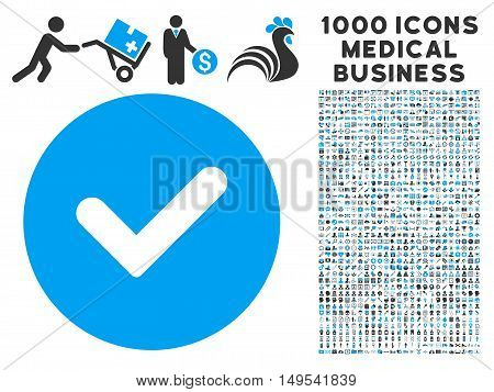 Yes icon with 1000 medical commercial gray and blue glyph pictograms. Clipart style is flat bicolor symbols, white background.