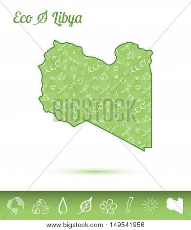 Libya Eco Map Filled With Green Pattern. Green Counrty Map With Ecology Concept Design Elements. Vec