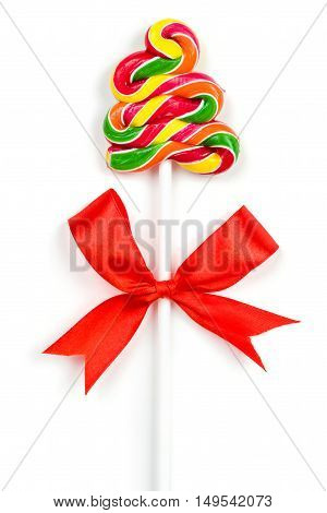 Christmas Candy Cane with Red Bow Isolated on White Background.