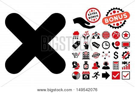Cancel icon with bonus pictogram. Glyph illustration style is flat iconic bicolor symbols, intensive red and black colors, white background.