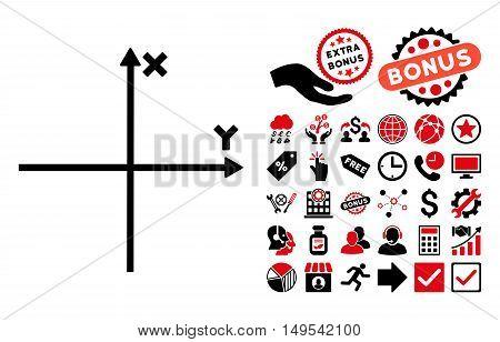 Cartesian Axes icon with bonus elements. Glyph illustration style is flat iconic bicolor symbols, intensive red and black colors, white background.