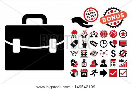 Case icon with bonus clip art. Glyph illustration style is flat iconic bicolor symbols, intensive red and black colors, white background.