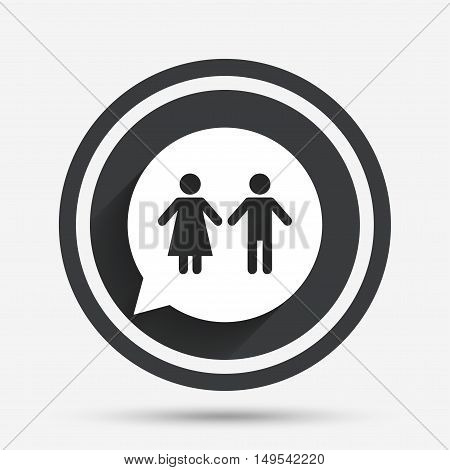 Toilet sign icon. Restroom or lavatory speech bubble symbol. Circle flat button with shadow and border. Vector