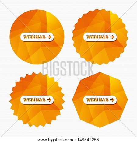 Webinar with arrow sign icon. Web study symbol. Website e-learning navigation. Triangular low poly buttons with flat icon. Vector