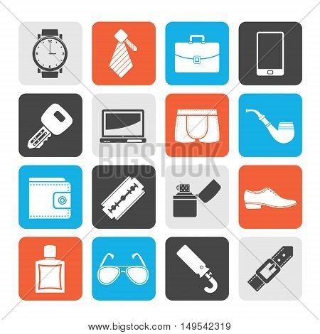 Silhouette Male accessories and clothes icons- vector icon set