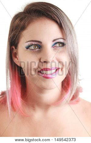 Close Up Portrait Of Young Woman With Pink Ombre Hair