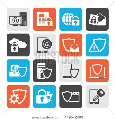 Silhouette Data and Information Protection Security Icons  - vector icon set