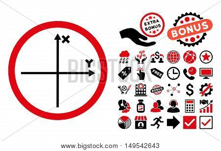 Cartesian Axis icon with bonus clip art. Glyph illustration style is flat iconic bicolor symbols, intensive red and black colors, white background.
