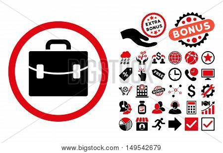 Case icon with bonus design elements. Glyph illustration style is flat iconic bicolor symbols, intensive red and black colors, white background.