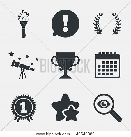 First place award cup icons. Laurel wreath sign. Torch fire flame symbol. Prize for winner. Attention, investigate and stars icons. Telescope and calendar signs. Vector