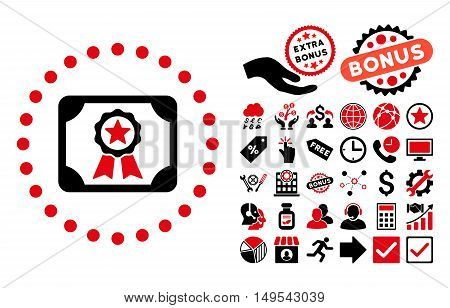 Certificate icon with bonus design elements. Glyph illustration style is flat iconic bicolor symbols, intensive red and black colors, white background.